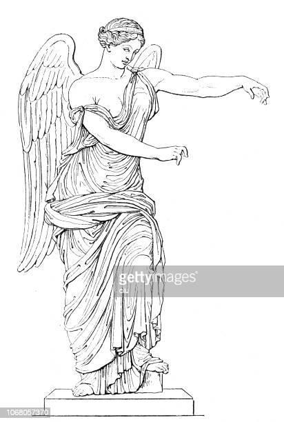 nike bronze statue,  goddess of victory in greek mythology - goddess stock illustrations, clip art, cartoons, & icons