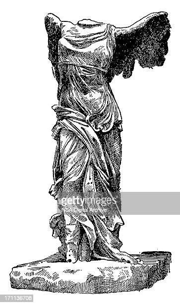 nike of samothrace - greece stock illustrations