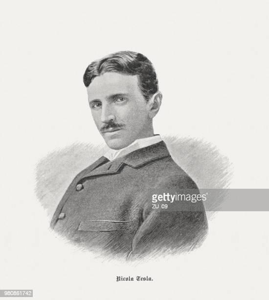 nikola tesla (1856-1943), serbisch-us-amerikanischer erfinder und elektroingenieur, veröffentlicht 1898 - nikola tesla stock-grafiken, -clipart, -cartoons und -symbole