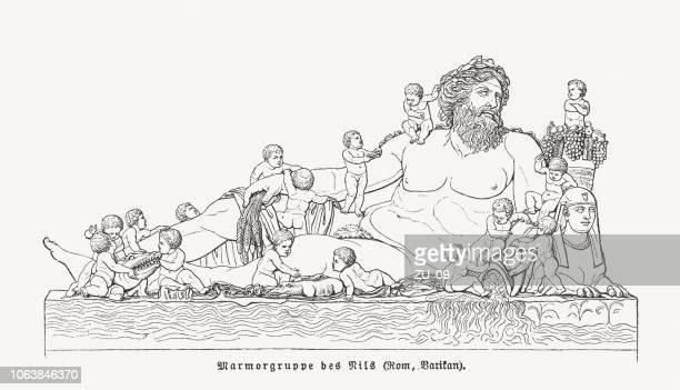 nile god, ancient roman statue, vatican museums, woodcut, published 1897 - greek statue stock illustrations