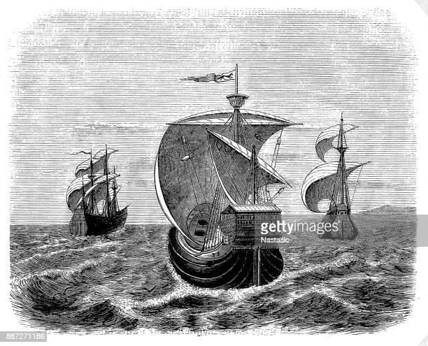 ilustraciones, imágenes clip art, dibujos animados e iconos de stock de nina, pinta y de santa maría-christopher área de barcos - cristobal colon
