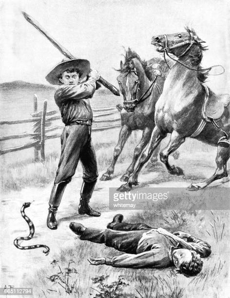 Nineteenth century American boy attacking a rattlesnake