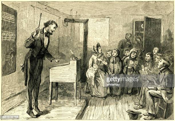 NIneteenth century American choir-master and choir at a rehearsal