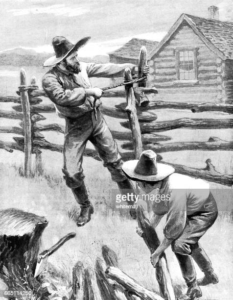 nineteenth century american father and son putting up a fence - prairie stock illustrations, clip art, cartoons, & icons