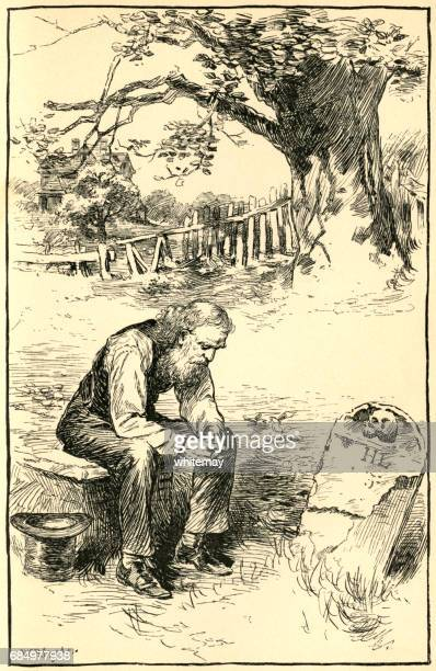 nineteenth century american man mourning beside a friend's grave - grave stock illustrations, clip art, cartoons, & icons
