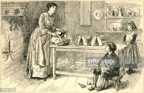 nineteenth century american mother baking bread - baked stock illustrations, clip art, cartoons, & icons