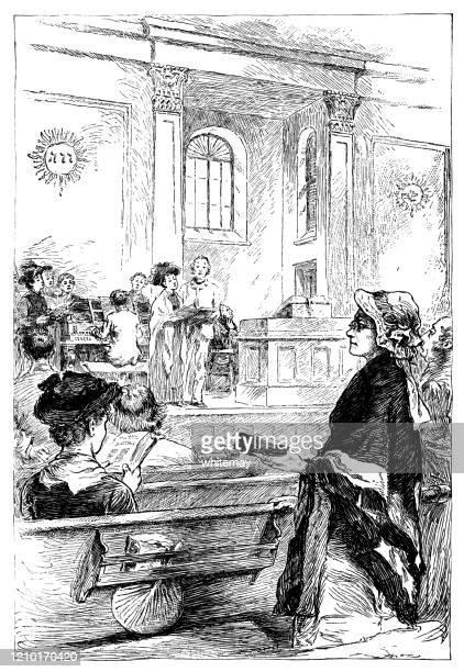 stockillustraties, clipart, cartoons en iconen met negentiende-eeuwse amerikaanse mensen hymn-zingen in de kerk - religieuze dienst