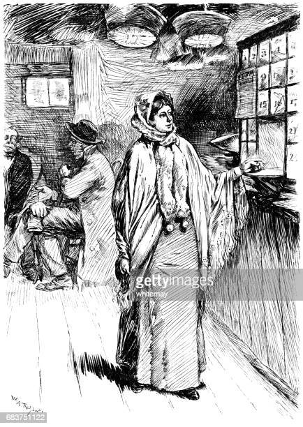 nineteenth century american woman in a shop - post office stock illustrations, clip art, cartoons, & icons