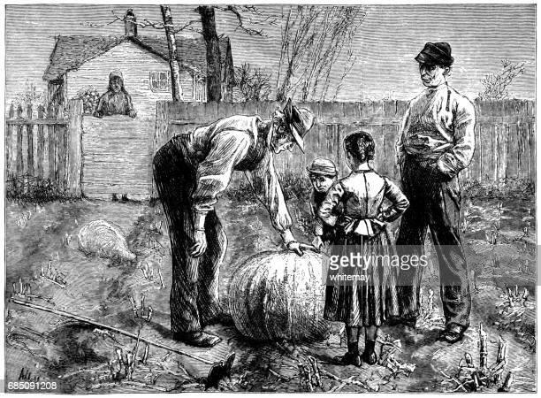 Nineteenth century Americans admiring a large pumpkin