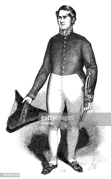 nineteenth century british consul in uniform - sunday best stock illustrations, clip art, cartoons, & icons