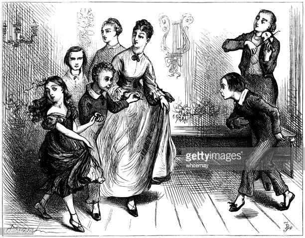 Nineteenth century children enduring a dancing lesson