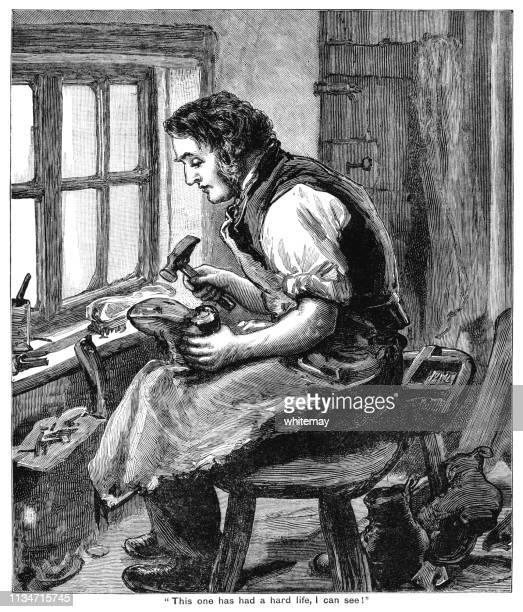 19世紀のコブラー、窓の前に座って、磨耗したブーツを修理する - 19世紀風点のイラスト素材/クリップアート素材/マンガ素材/アイコン素材