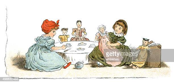 Nineteenth century dolls' tea party
