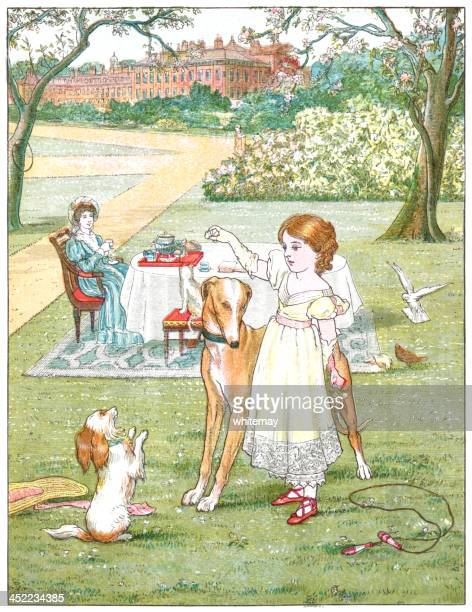 Nineteenth century girl with her pets