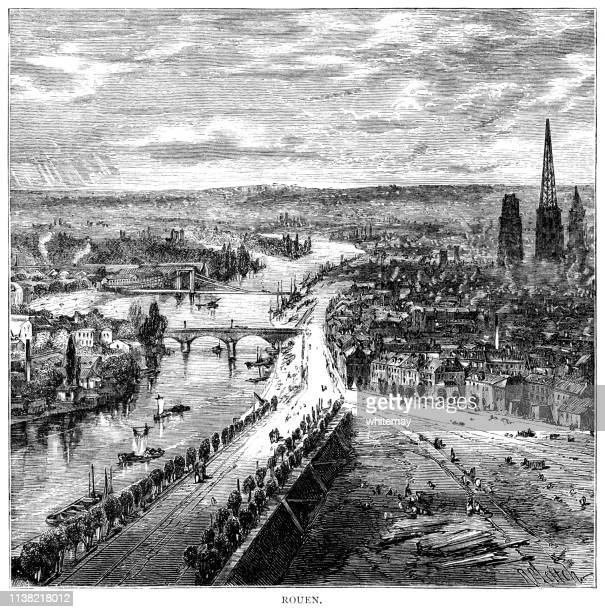 Nineteenth century high level view over Rouen, France