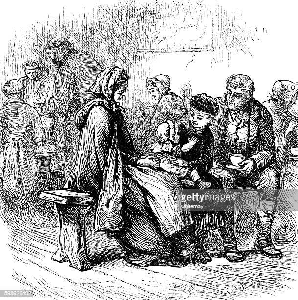 nineteenth century irish emigrants - irish culture stock illustrations