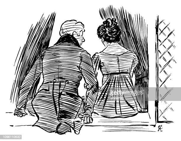 19 世紀の男性と女性の窓の土台の上に座って - リージェンシー様式点のイラスト素材/クリップアート素材/マンガ素材/アイコン素材