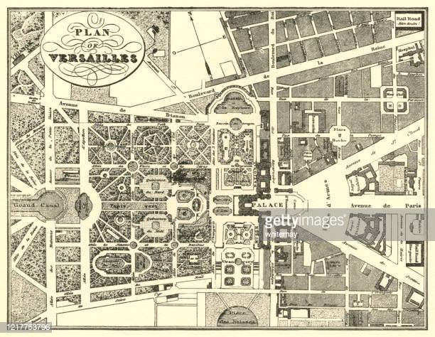nineteenth century plan of the gardens at the palace of versailles, france - chateau de versailles stock illustrations