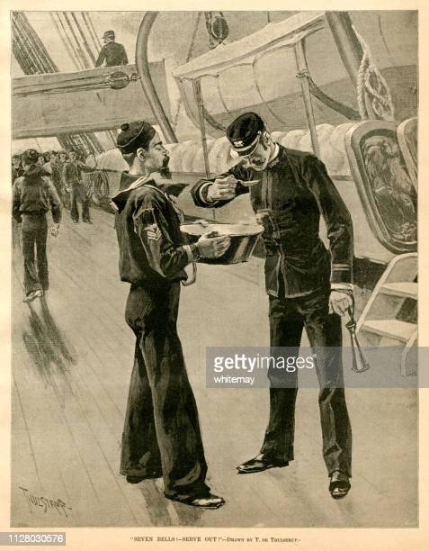 Nineteenth century US Navy ship's cook presenting the day's dinner to the Officer of the Watch for tasting