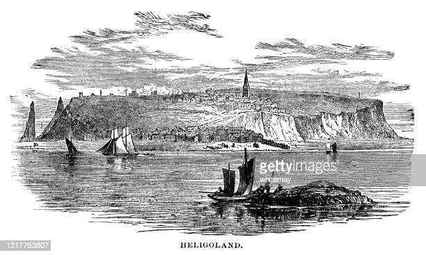 nineteenth century view of heligoland from the sea - helgoland stock illustrations
