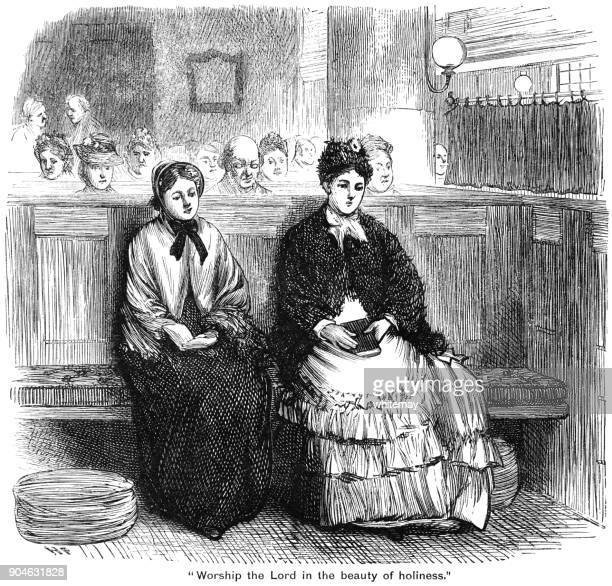 nineteenth century worshippers in a church - sunday best stock illustrations, clip art, cartoons, & icons