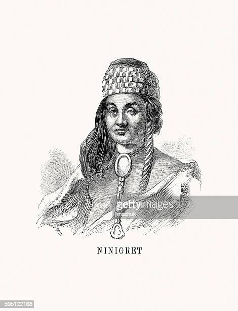 ninigret, indian leader - governmental occupation stock illustrations, clip art, cartoons, & icons