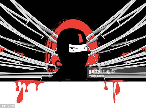 a ninja surrounded by bloody swords - only japanese stock illustrations, clip art, cartoons, & icons