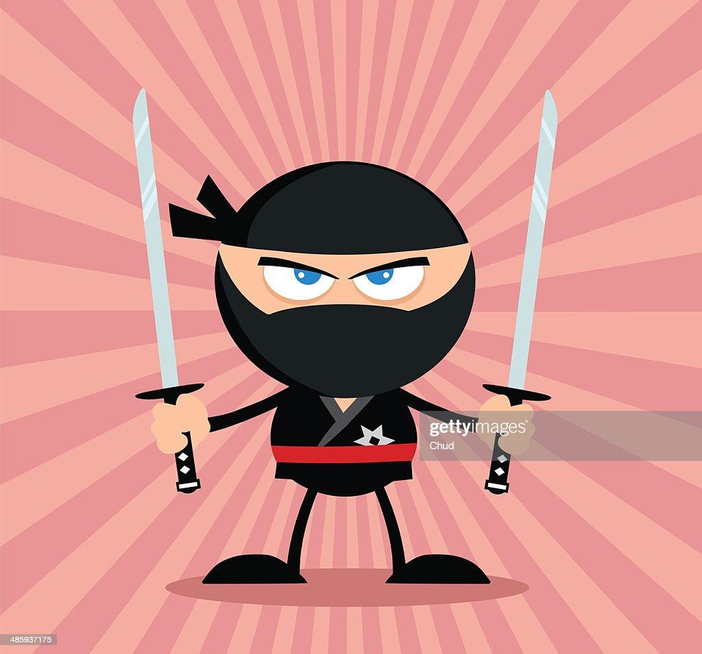 Ninja warrior with two katana and background : Stock Illustration
