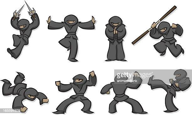 ninjas - only japanese stock illustrations, clip art, cartoons, & icons