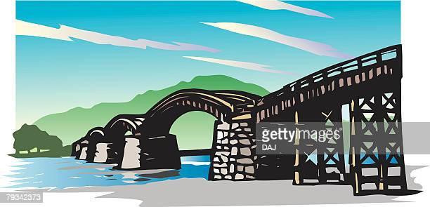 nishikiobi bridge, woodcut, low angle view, yamaguchi prefecture, japan - 山口県点のイラスト素材/クリップアート素材/マンガ素材/アイコン素材