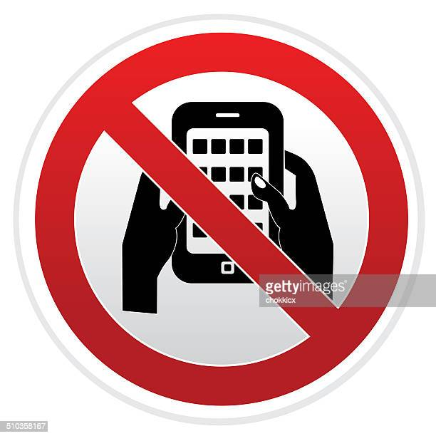 ilustrações de stock, clip art, desenhos animados e ícones de nenhum sinal de aviso de mensagens de texto - proibido celular
