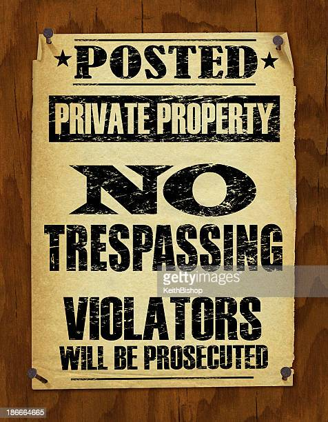 no trespassing sign - retro - private property stock illustrations