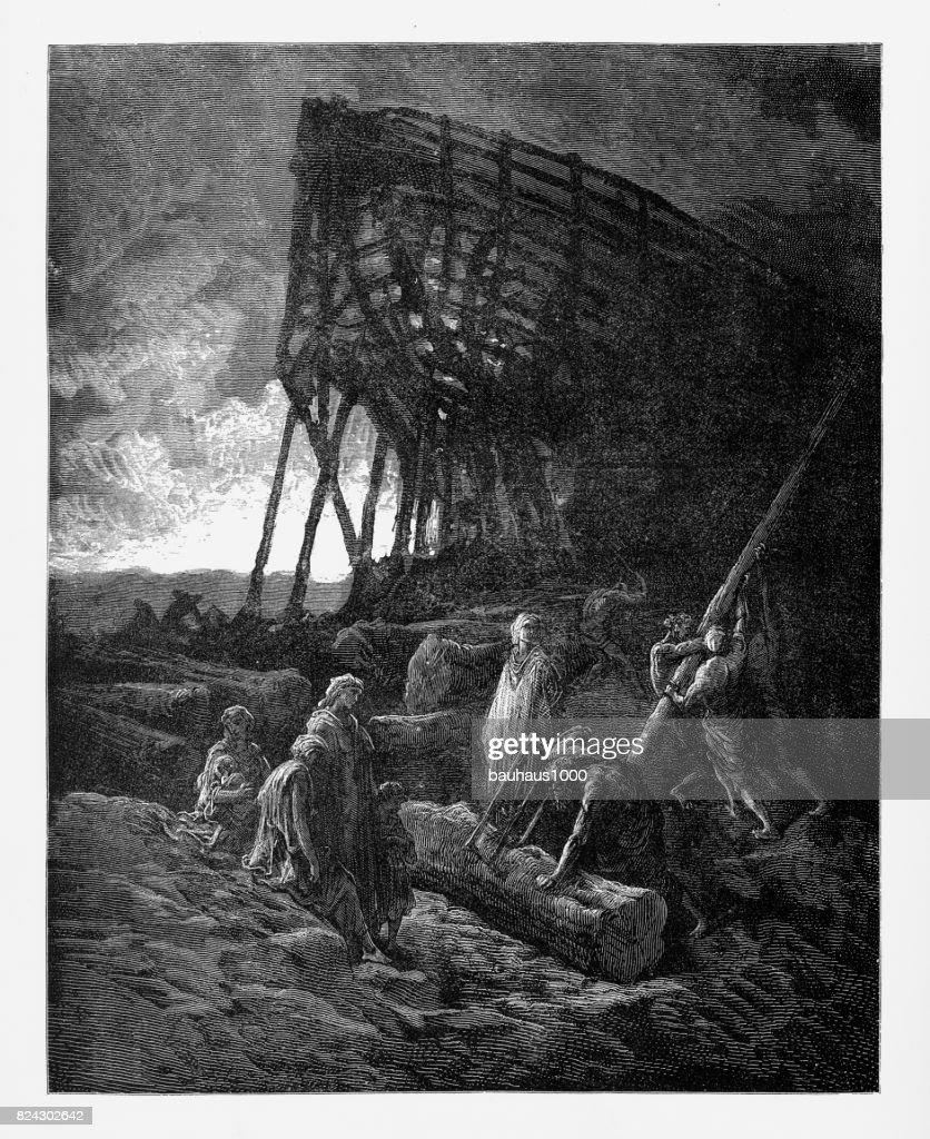 Noah Began to build a vessel of huge bulk Victorian Engraving, 1885 : stock illustration