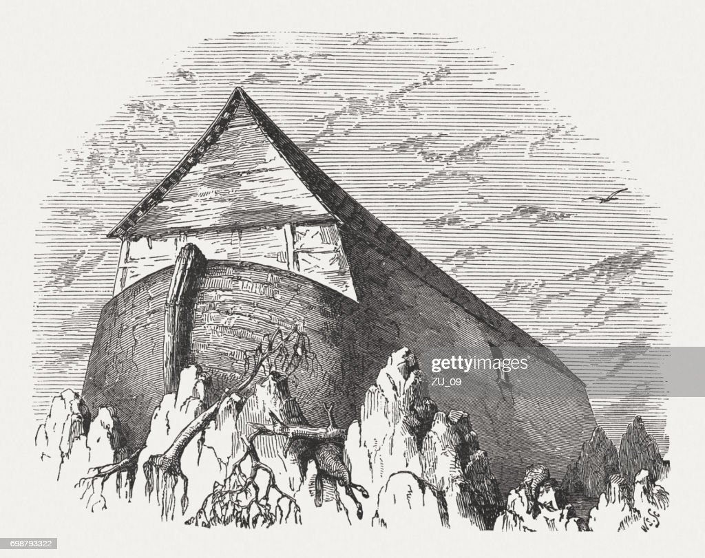 Noahs Ark Wood Engraving Published 1886 stock illustration