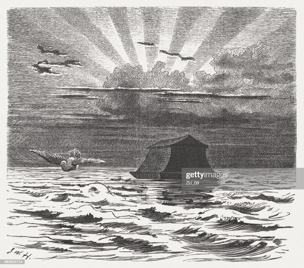 Noah's Ark, wood engraving, published in 1880 : Stock Illustration