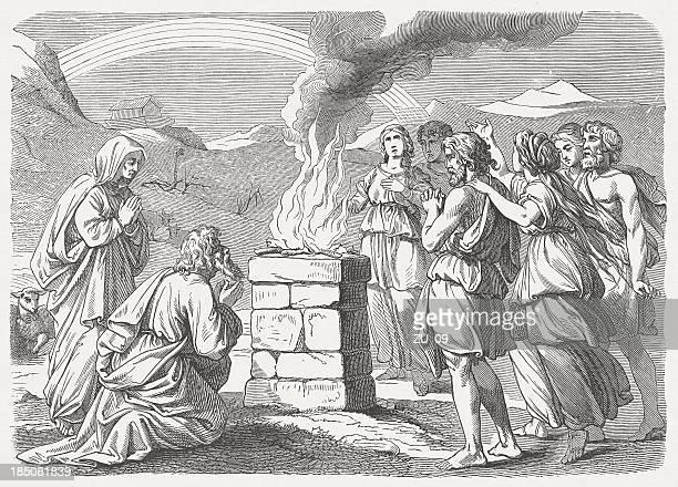 ノアの sacrifice (ゲネシス 8,20 -22 - ユダヤ教点のイラスト素材/クリップアート素材/マンガ素材/アイコン素材