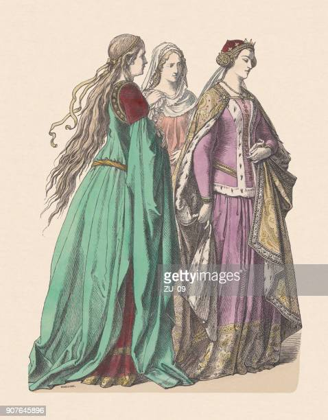 noble ladies and english princess, 14th century, published c. 1880 - circa 14th century stock illustrations, clip art, cartoons, & icons