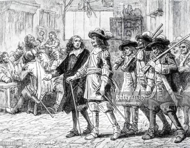 noble men with soldiers entering taverne - musketeer stock illustrations, clip art, cartoons, & icons