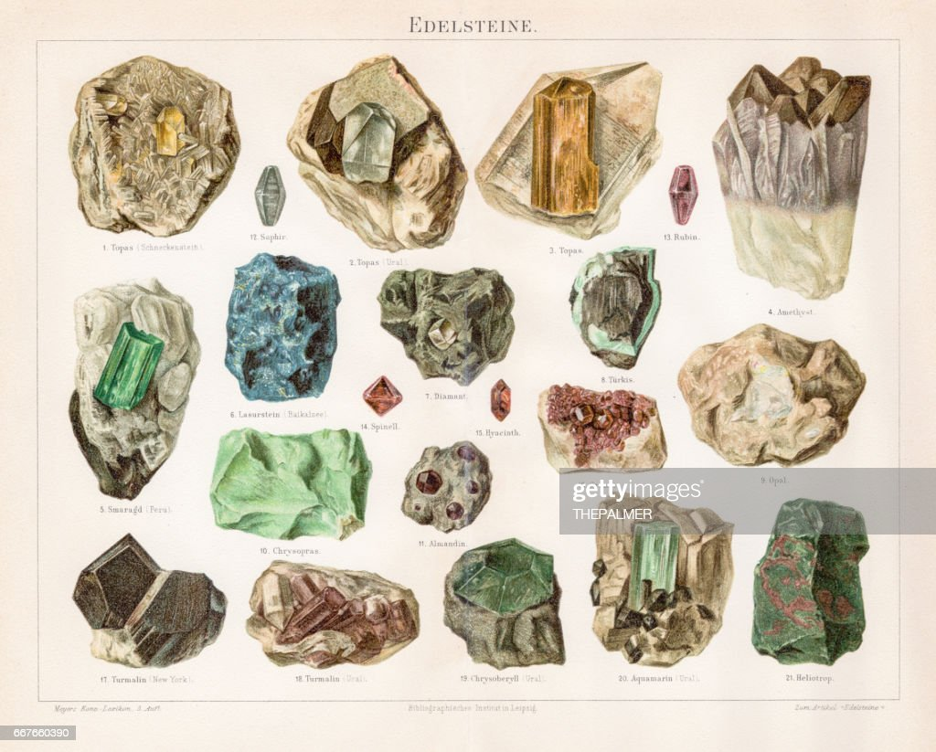 Noble stones chromolithograph 1895 : stock illustration