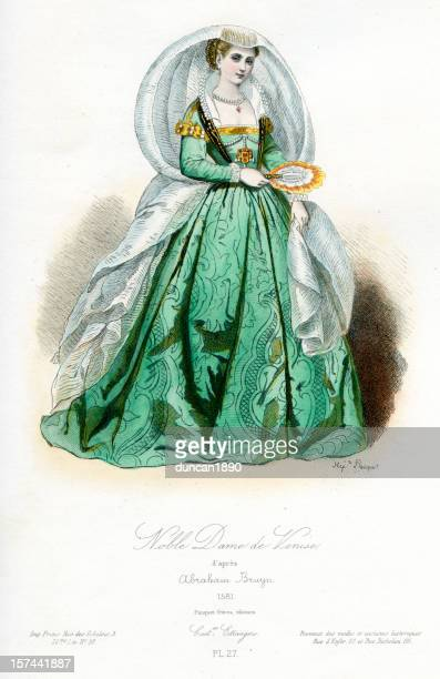 noble venetian lady - period costume stock illustrations