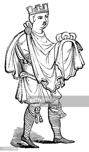 Nobleman Wearing Cross Braced Garters - 12th Century