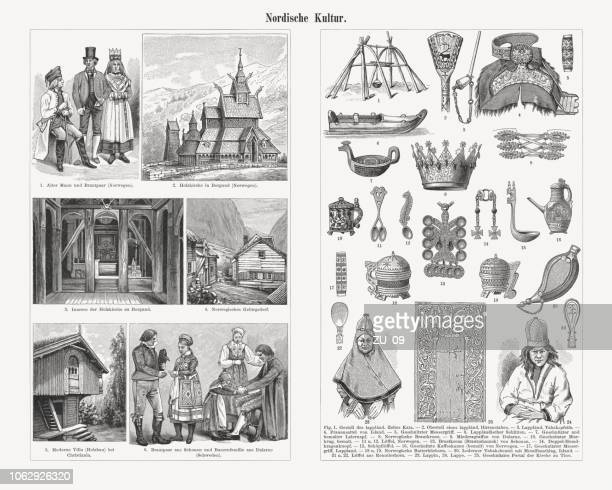 Nordic culture, 19th century, wood engravings, published in 1897
