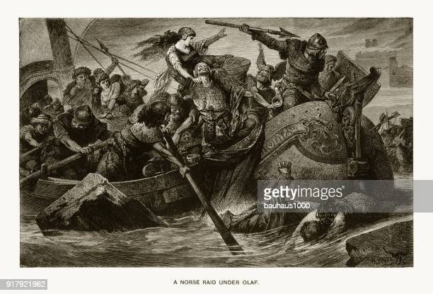 nordic raid under olaf tryggveson engraving - history stock illustrations