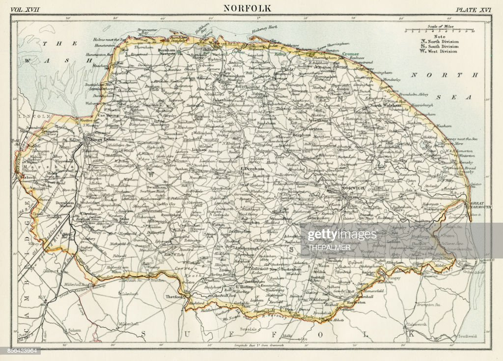 Norfolk Map 1884 Stock Illustration Getty Images