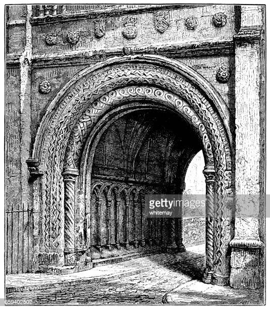 Norman archway, Abbey Gatehouse in College Green, Bristol (Victorian engraving)