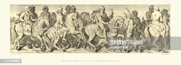 norman conquest, harold and his knight ride to bosham, sussex - falconry stock illustrations