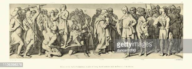 norman conquest, morcar elected earl of northumbria - northumberland stock illustrations, clip art, cartoons, & icons