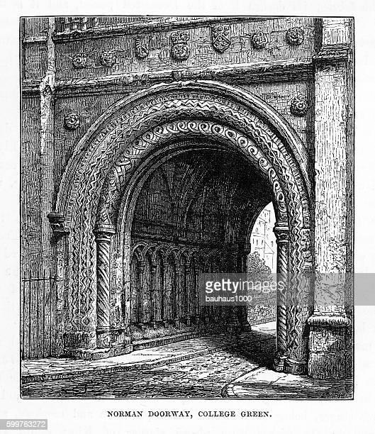 Norman Doorway, College Green in Yorkshire, England Victorian Engraving, 1840