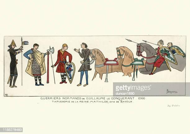 norman warriors of william the conqueror, 1066 - normandy stock illustrations