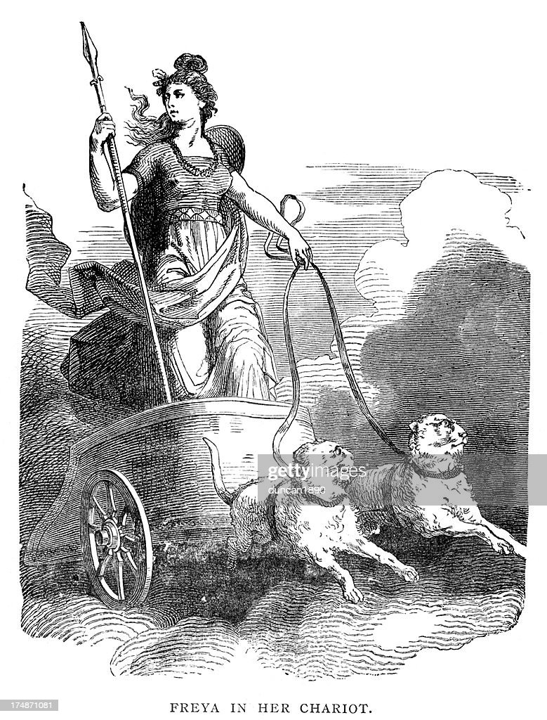Norse Mythology Freya In Her Chariot High Res Vector Graphic